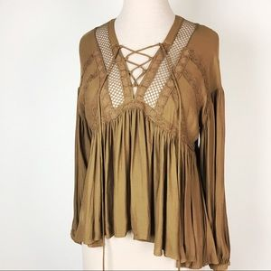Free People Pebbled Peasant Top Boho Hi Low I21